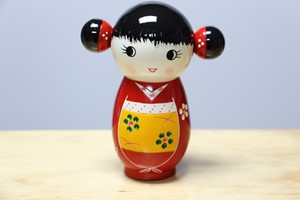 Picture of Decorative Countertop Doll - Girl w. Double Bun Hairstyle (Coin Bank Edition)