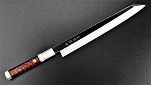 Picture of Akazawa ZDP189 Mirror Honyaki Kengata with Snake Wood Handle 270mm ( Sold Out , Pre-orderable )