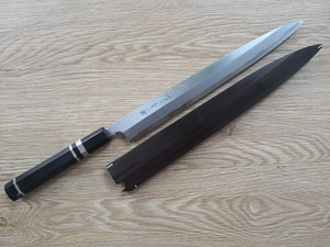 Picture of Akazawa Togashi Ao-ichi-Ko Hongasumi Yanagi 300mm Free upgrade Gokujyou Ebony Saya Cover  ( Semi handmade )(Market price $138)+Ebony Triple Nickel Silver Rings
