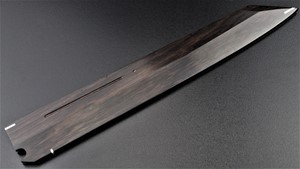 Picture of Akazawa Hokoshin (Yoshikazu-Ikeda) 3 sides Mirror Ao-ichi-ko Mizu-Honyaki Kengata Free Upgrade Gokujyou Ebony Saya Cover ( Semi handmade )(Market price $138)+Triple Nickel Silver Ring Handle